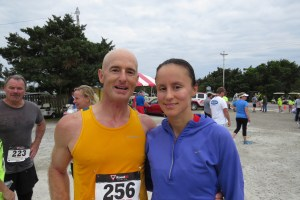 Keith Gray is the winner of the 10K and his wife, Angela, both of Buxton, is the 5K winner.  Photo by C. Leinbach