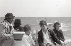 Charles Runyon, Sarah Louise Meeker, Richard Meeker and Anne Runyon boat to Portsmouth in August 1962.