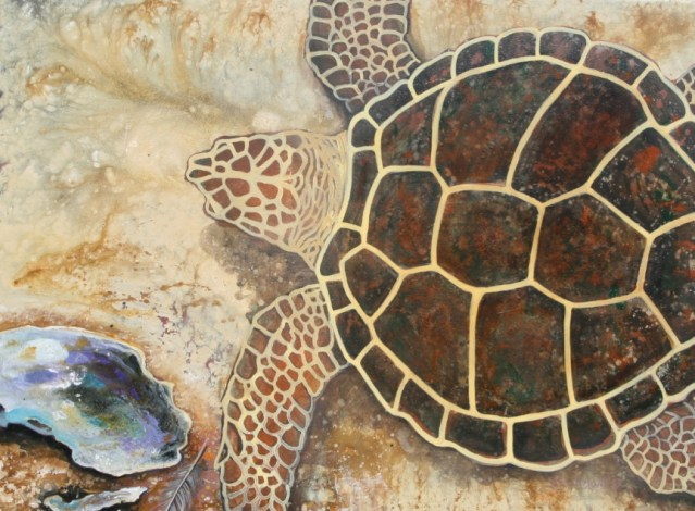 Paintings like these by Barbara Adams, an Ocracoke artist, are on view in Down Creek Gallery.
