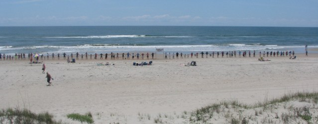 Ocracoke joins Hands Across the Sand at the LIfeguard Beach. Photo by P. Vankevich