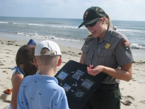 A junior rangers in the Cape Hatteras National Seashore talks about the ecosystem. Photo courtesy of CHNS.