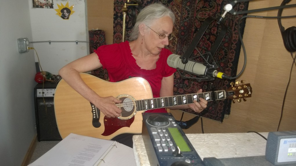 Mary Rocap performing at Ocracoke's community radio station VOVV. Photo by P. Vankevich