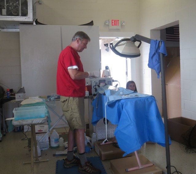 Dr. Howard Johnson, a veterinarian from Boone, NC, performs surgeries on feral cats in the Ocracoke Volunteer Fire Department.