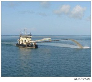 The state dredge in Hatteras Inlet. Photo courtesy of NCDOT.