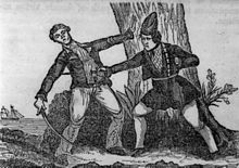 Mary Read killing an antagonist. Photo by Wikipedia.