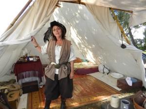 Jo Cannon of Beaufort in her period tent in the Blackbeard's Pirate Crew encampment on the Berkley Manor grounds.