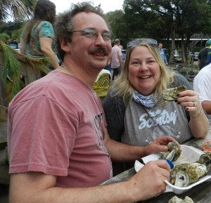Jay and Catherine Marryott of Carneys Point, NJ, come to Ocracoke especially for the Oyster Roast.