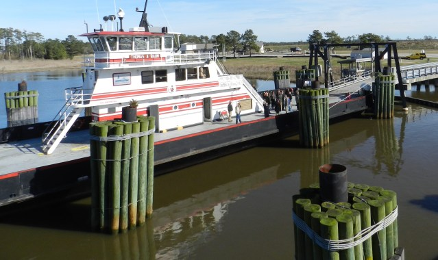Legislators take a tour of a ferry at the Swan Quarter ferry dock. Photo by C. Leinbach