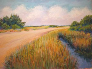 Island artist Mary Bassell captures many island vistas with her pastels. This one is the major beach access South Point Road.