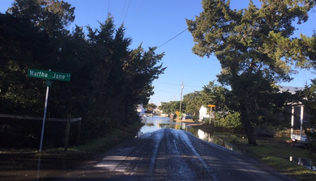 Water along Lighthouse Road Monday. Photo by C. Leinbach