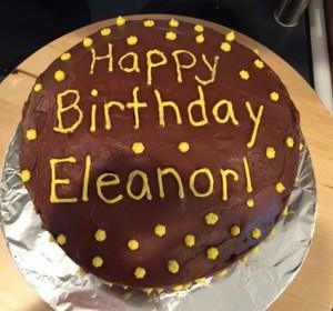 A chocolate cake with 100 frosting stars made by Debbie Leonard. Photo by Debbie Leonard.