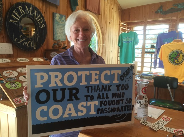 "Mickey Baker, co-owner of Mermaid's Folly, will not have to sell ""no offshore drilling"" signs or sell T-shirts for about five years."