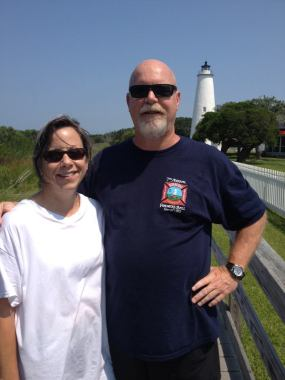 Tammy and David Finch visiting the Ocracoke lighthouse. Photo courtesy of David Finch.
