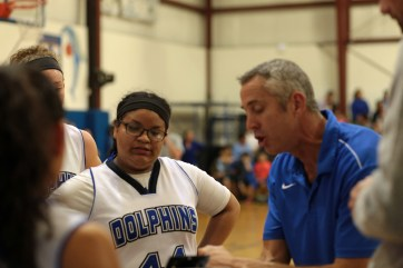 Bill Evans coaches Karla Perez, left. Photo by P. Vankevich