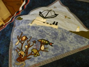 Detail of the quilt to be raffled at Ocracoke Preservation Society.