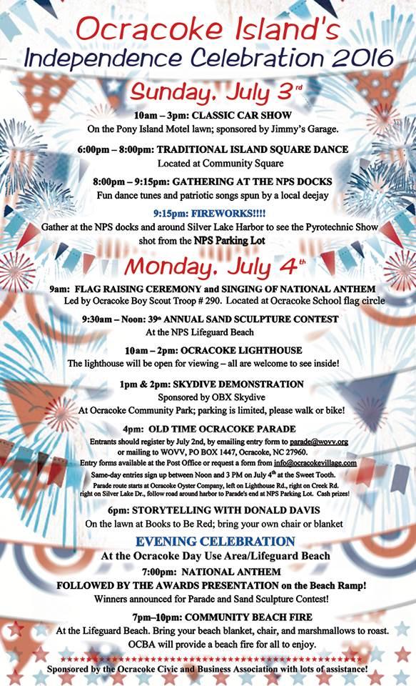 July 3-4 2016 schedule