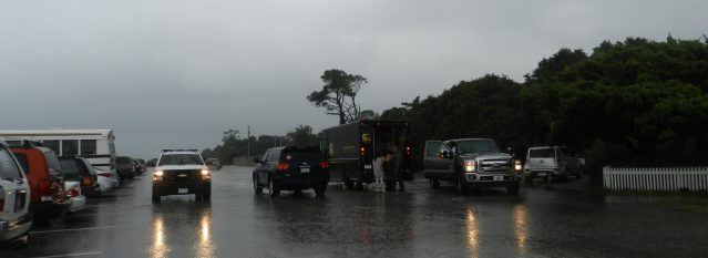 The island UPS driver met islanders at midday in the NPS parking lot to deliver packages before catching the 2 p.m. ferry. Photo: C. Leinbach