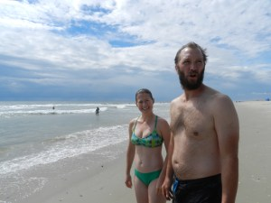 Lee and Chris Prout of New York City talk about rip currents.