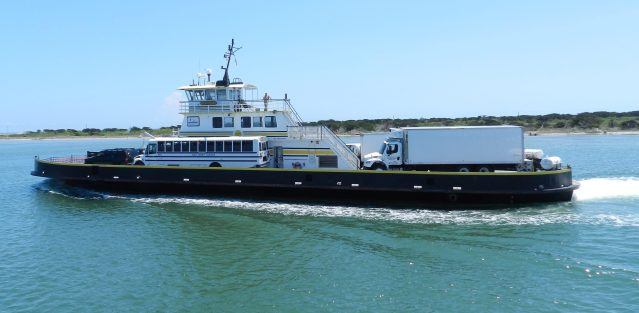 School buses and vendors on the Hatteras-Ocracoke ferry. Photo: C. Leinbach