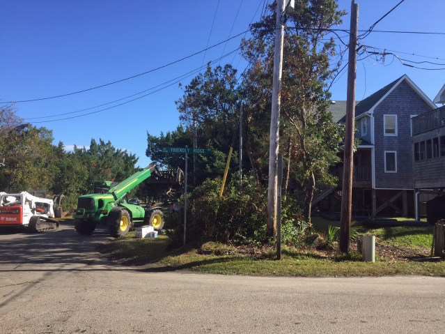 Debris removal post Hurricane Matthew is part of the FEMA work on Ocracoke. Photo by C. Leinbach