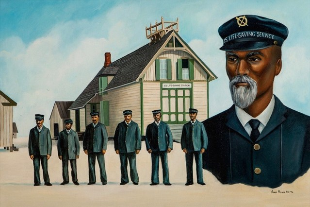 Capt. Richard Etheridge with the Pea Island life-saving crew in a painting by Outer Banks artist James Melvin.