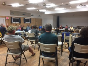 The meeting on tram funding Feb. 22 in the Ocracoke Community Center.
