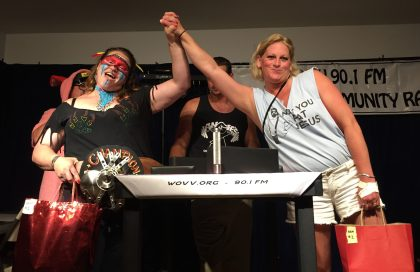 Womens arm wrestling on Ocracoke, NC