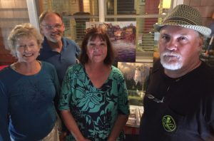 Professional outdoor artists visiting Ocracoke, NC, this week are, from left, Joanne Geisel, Dan Nelson, Ann Hair and Mike Rooney. Photo: Connie Leinbach