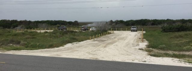 South Bitterswash Creek, a new soundside day-use area north of the pony pens, will be the temporary staging site on Ocracoke N.C., for the Hatteras Ferry starting Monday while NCDOT crews repair the north end dunes. Photo: C. Leinbach