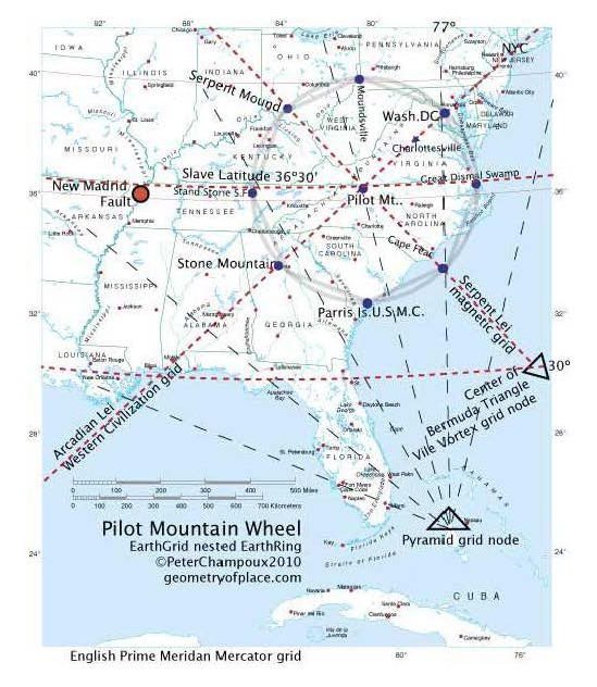 The magic and mystery of sacred geometry to be revealed on sunday this map shows ley lines emanating from pilot mountain surry county nc gumiabroncs Choice Image