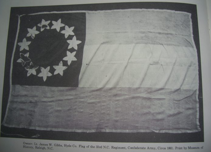 The flag of the Hyde County 33rd Regiment, ca. 1861.