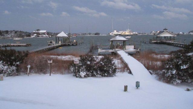 Early morning snow day on Silver Lake, Ocracoke, NC. Photo by Richard Taylor