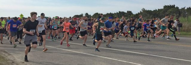 The 7th Annual Scallywag 5K/10K begins Saturday, April 28, on Irvin Garrish Highway, Ocracoke, N.C., just beyond Howard's Pub.