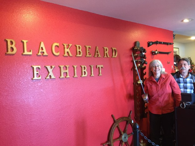 Mickey and George Roberson, owners of Teachs Hole Blackbeard Exhibit on Irvin Garrish Highway, Ocracoke, N.C., have been telling the Blackbeard story for 26 years. Photo: C. Leinbach