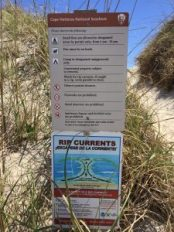 Rip current signage at a dune walkway on Ocracoke, N.C. Photo: C. Leinbach