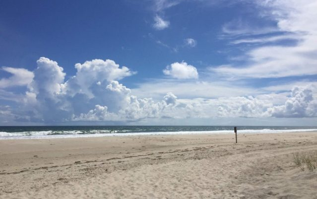 The empty Lifeguard Beach, Ocracoke, N.C., on Tuesday, Sept. 11. Photo: C. Leinbach