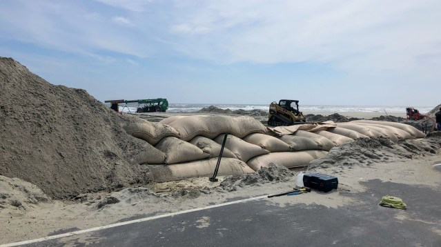 Dune repair/nourishment at the north end of Ocracoke is a continuing NCDOT project. Photo: C. Leinbach