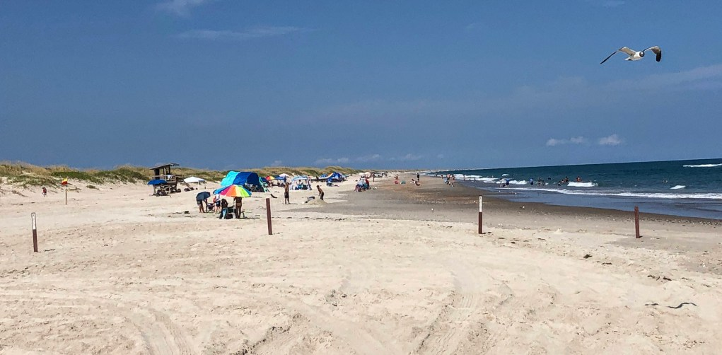 Lifeguards will stay on duty at the Day Use Area (known as the Lifeguard Beach) on Ocracoke, NC, through Sept. 30. 2020.  Photo: C. Leinbach