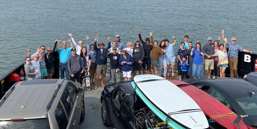 After waiting for three days in the stacking lanes at the Hatteras Ferry docks, the 'ferry friends' get a surprise ride on Thursday to Ocracoke before the rest of the public. Photo by Clint Loban of Afton, Virginia.