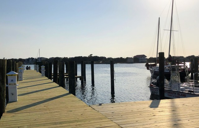 Public access to the water in Ocracoke village is at the community square docks, above, and the National Park Service areas near the ferry docks. Photo: C. Leinbach