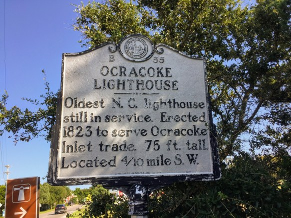A historic marker for the Ocracoke lighthouse is located at Irvin Garrish Highway and Lighthouse Road. Photo: C. Leinbach