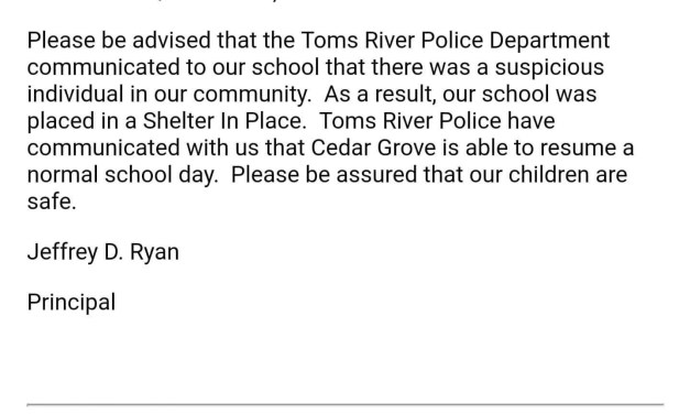 TR: Cedar Grove Elementary- Shelter in Place