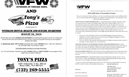 BAYVILLE: Veterans Mental Health & Suicide Awareness Fundraiser @ Tony's Pizza (08/20/2019)