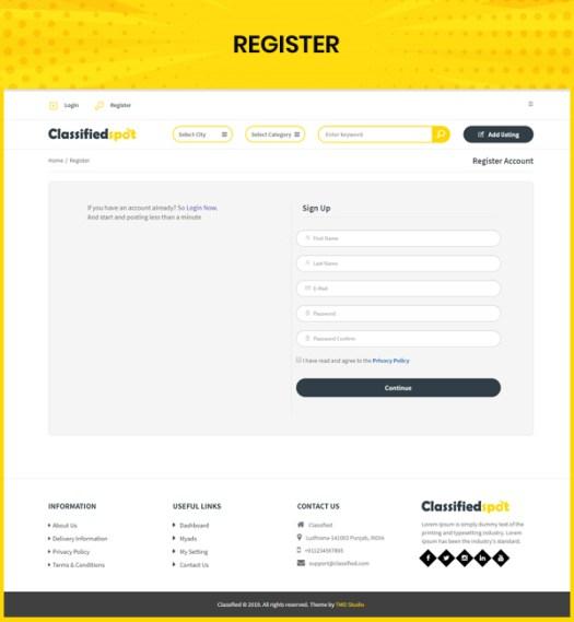 classified custom script user register page