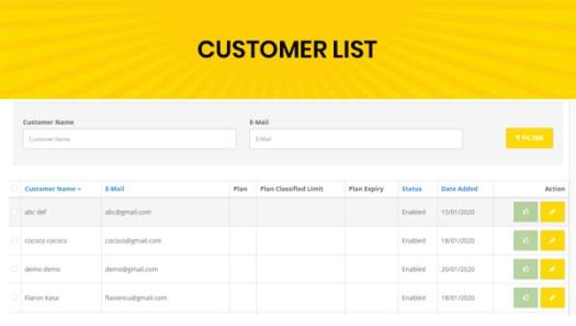 classified custom script admin customer list