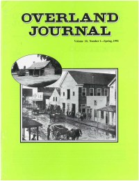 Overland Journal Volume 10 Number 1 Spring 1992