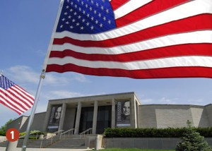 American flag unfurled in front of Truman Library