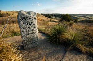 stone marker for the Oregon Trail with engraving