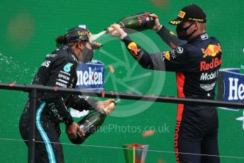 World © Octane Photographic Ltd. Formula 1 – F1 Portuguese GP, Podium. Mercedes AMG Petronas F1 W11 EQ Performance - Lewis Hamilton and Aston Martin Red Bull Racing RB16 – Max Verstappen. Autodromo do Algarve, Portimao, Portugal. Sunday 25th October 2020.