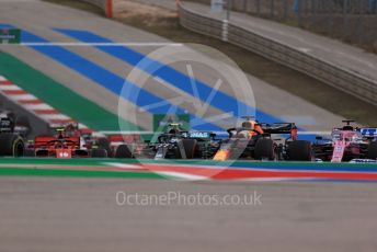 World © Octane Photographic Ltd. Formula 1 – F1 Portuguese GP, Race. Aston Martin Red Bull Racing RB16 – Max Verstappen and BWT Racing Point F1 Team RP20 - Sergio Perez get close before touching. Autodromo do Algarve, Portimao, Portugal. Sunday 25th October 2020.